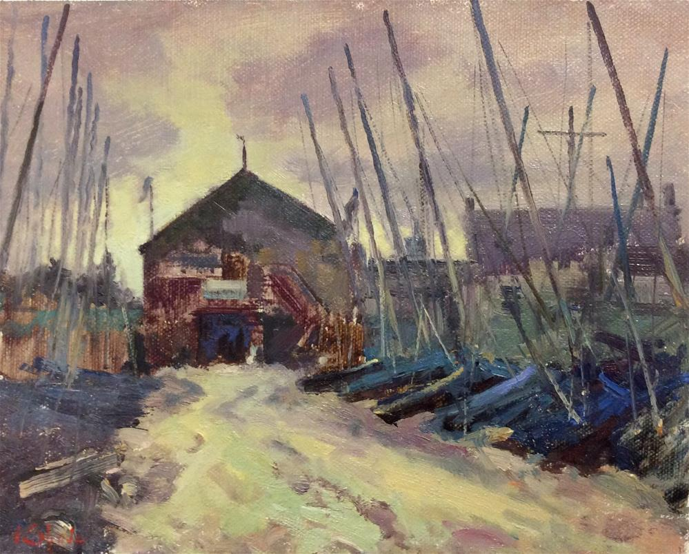 """Whitstable Boatyard"" original fine art by John Shave"