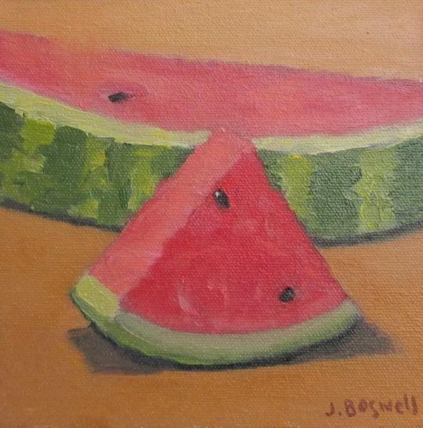 """""""Sliced Watermelon 1"""" original fine art by Jennifer Boswell"""