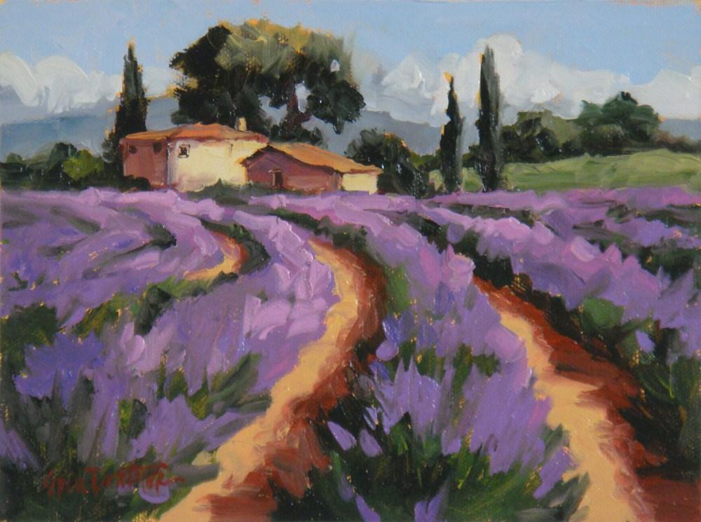 """Tiptoe Through the Lavender Oil on panel"" original fine art by Erin Dertner"