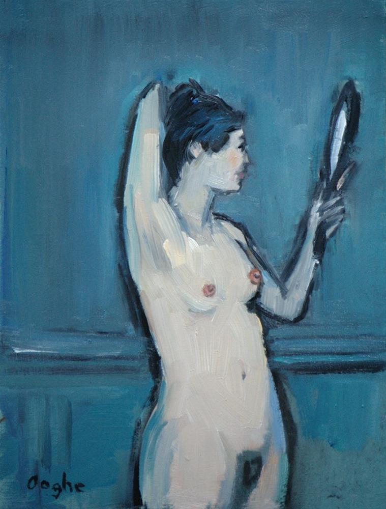 """Nude with Hand Mirror"" original fine art by Angela Ooghe"