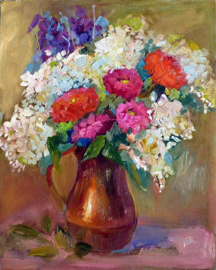 """Zinnias 13062"" original fine art by Nancy Standlee"
