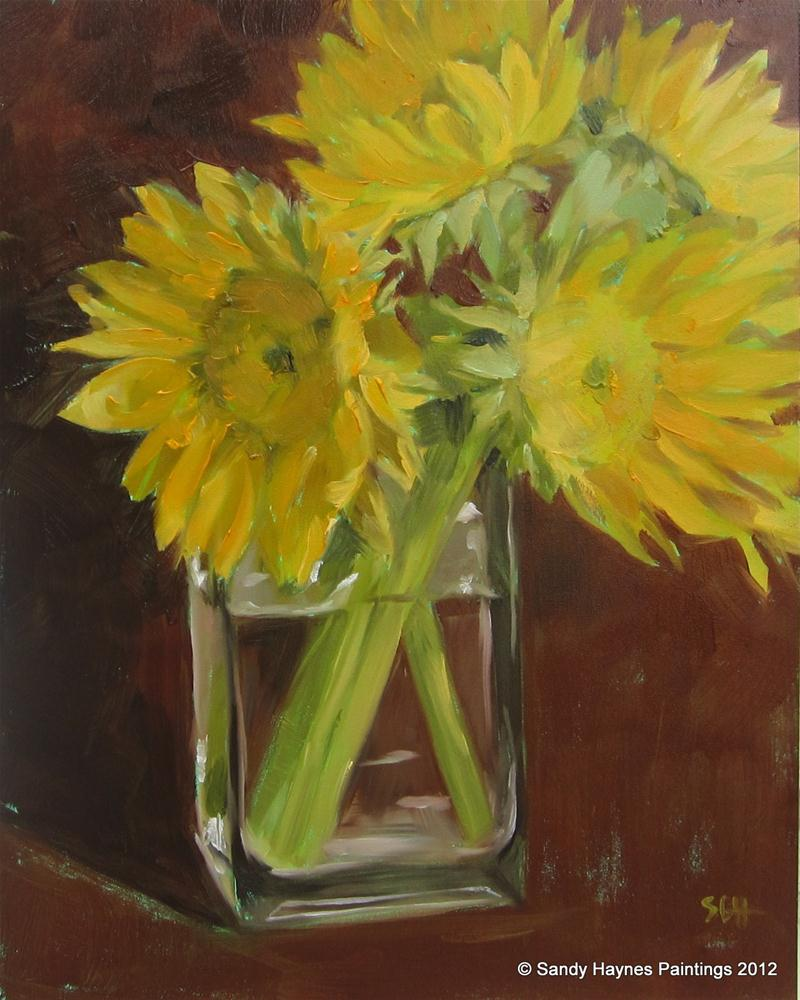 """Dark background sunflowers"" original fine art by Sandy Haynes"