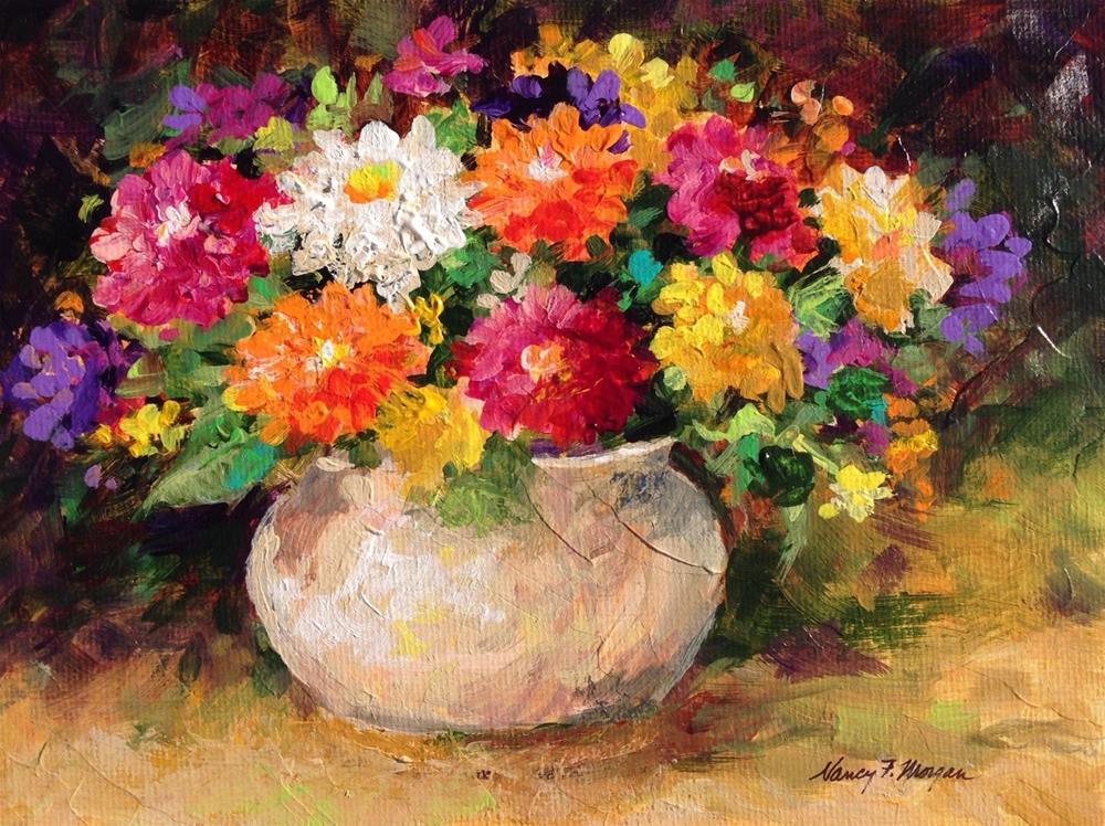 """Zinnias"" original fine art by Nancy F. Morgan"