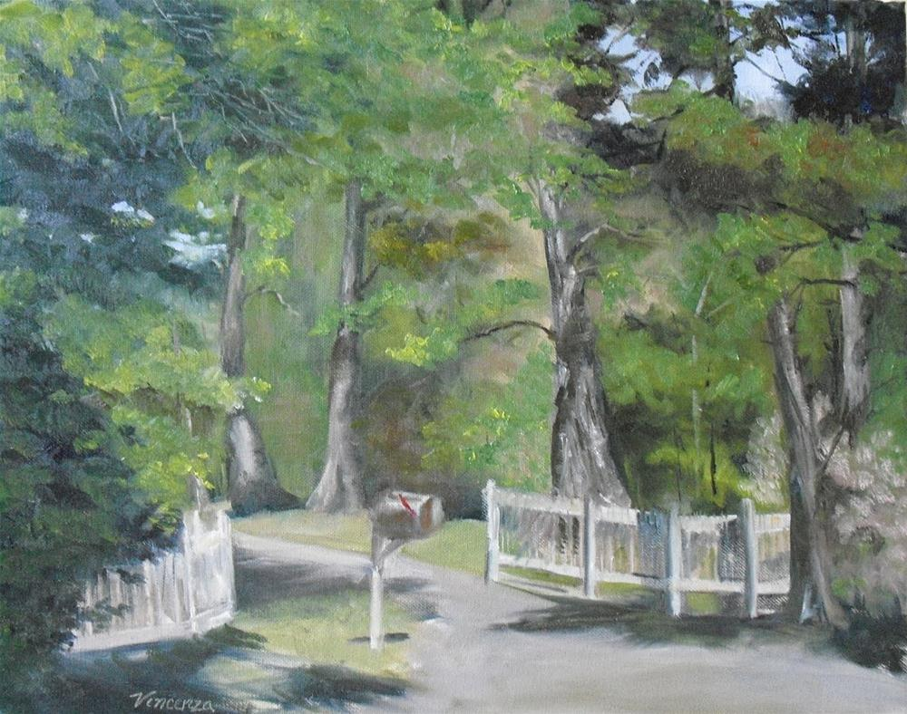 """""""Mails In Cherokee Park  ~ 16 x20~ oil on canvas"""" original fine art by Vincenza Harrity"""