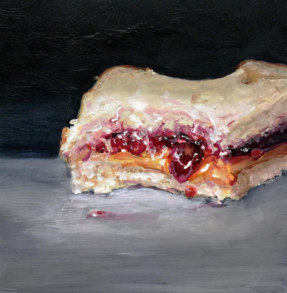 """Bitten (PB&J #32 - Peanut Butter & Jelly Sandwich Painting)"" original fine art by Sunny Avocado"