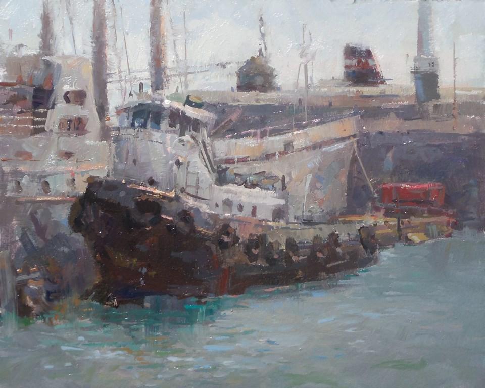 """Toronto Harbour Tug"" original fine art by Michael Pieczonka"