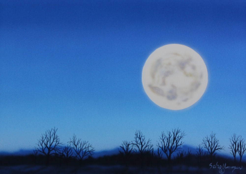 """Winter Moon"" original fine art by Fred Schollmeyer"