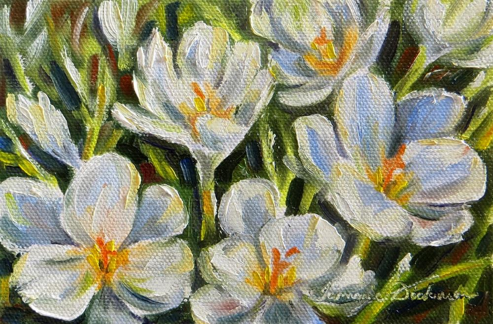 """First White Crocus"" original fine art by Tammie Dickerson"