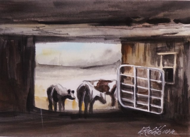 """Going Out to Graze"" original fine art by Kathy Los-Rathburn"