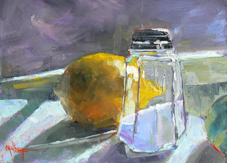"""Lemon and Salt Shaker"" original fine art by Carol Schiff"