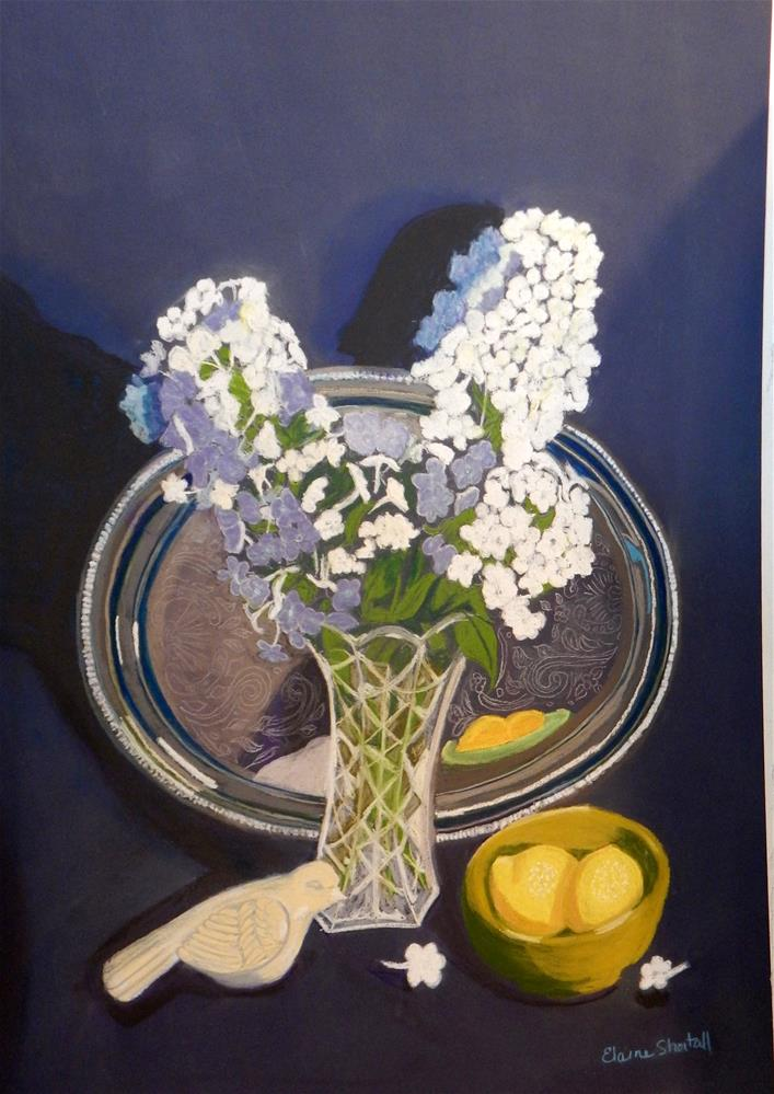 """Still Life with Tall Phlox and Silver Tray"" original fine art by Elaine Shortall"