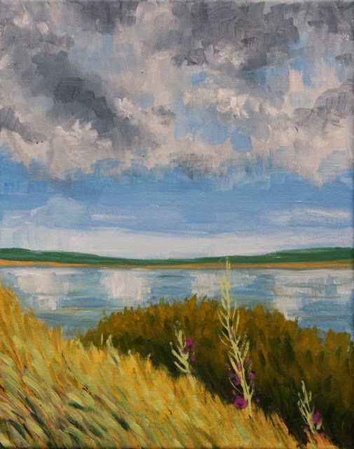 """Study of clouds over the lake"" original fine art by Hilary J. England"