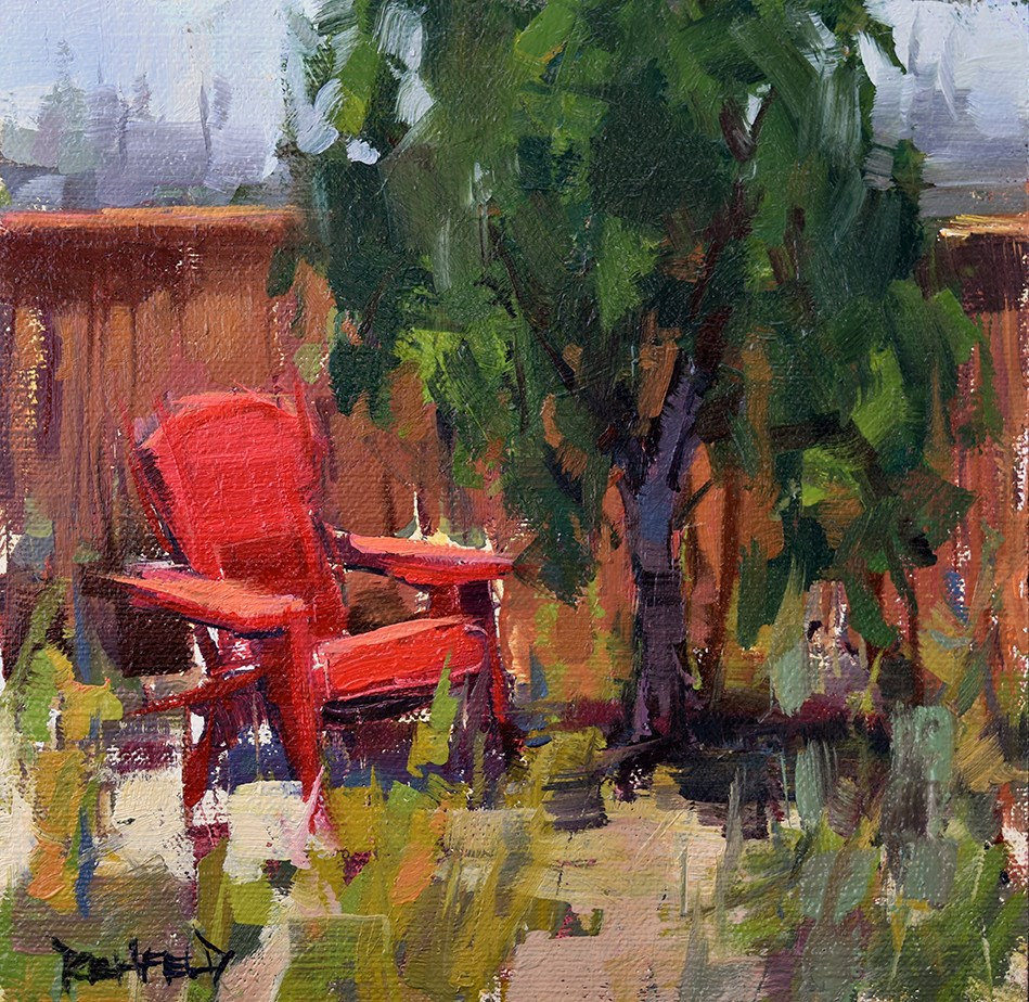 """The Red Chair"" original fine art by Cathleen Rehfeld"