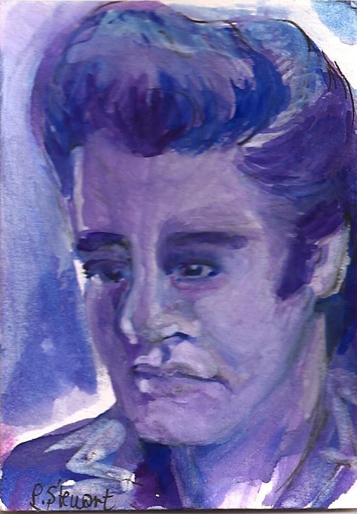 """ACEO - The King, In Blue"" original fine art by Penny Lee StewArt"