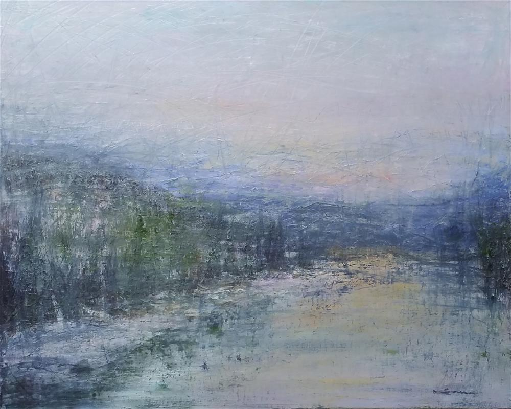 """Foggy Blue Mountain"" original fine art by Sun Sohovich"