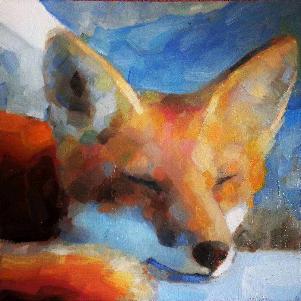 """Sleepy fox"" original fine art by Maria Z."