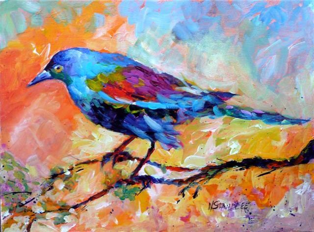"""Indigo Bunting 12051  SOLD"" original fine art by Nancy Standlee"