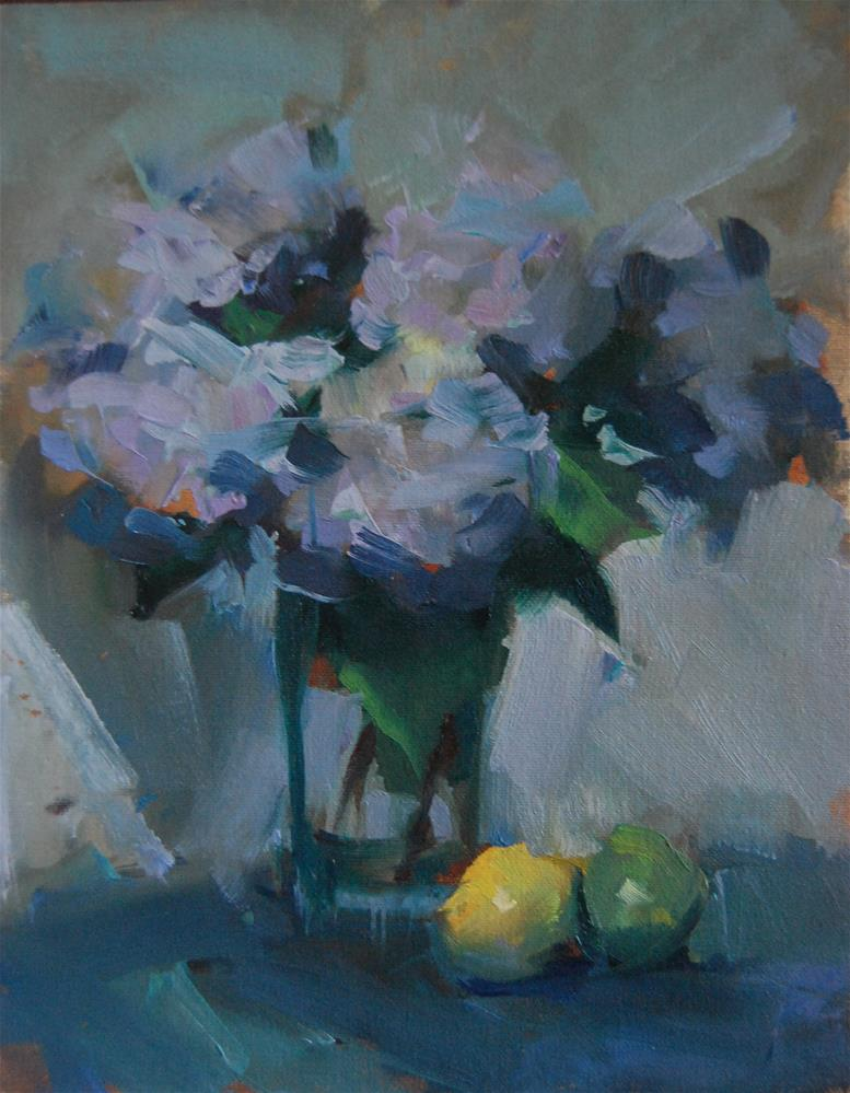 """Hydrangeas Lemon and Lime"" original fine art by Margaret Dyer"