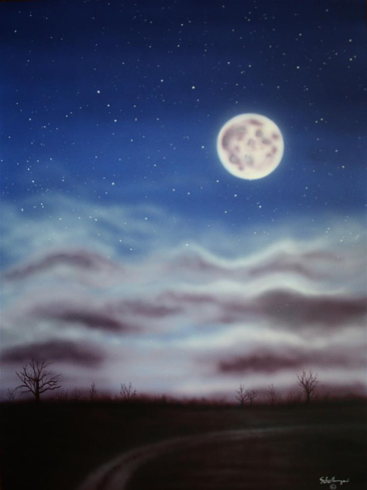 """October Moon"" original fine art by Fred Schollmeyer"