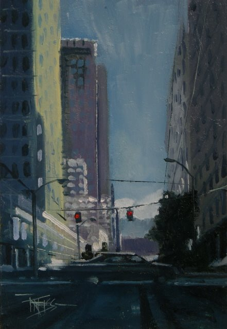 """Green Light  Seattle city scenes , urban oil painting"" original fine art by Robin Weiss"