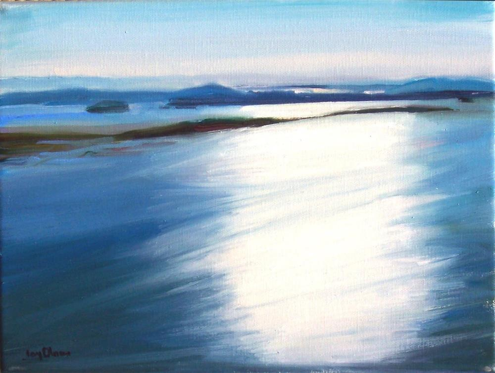 """View of Light from Blanchard MT.,seascape,oil on canvas,9x12,price$500"" original fine art by Joy Olney"