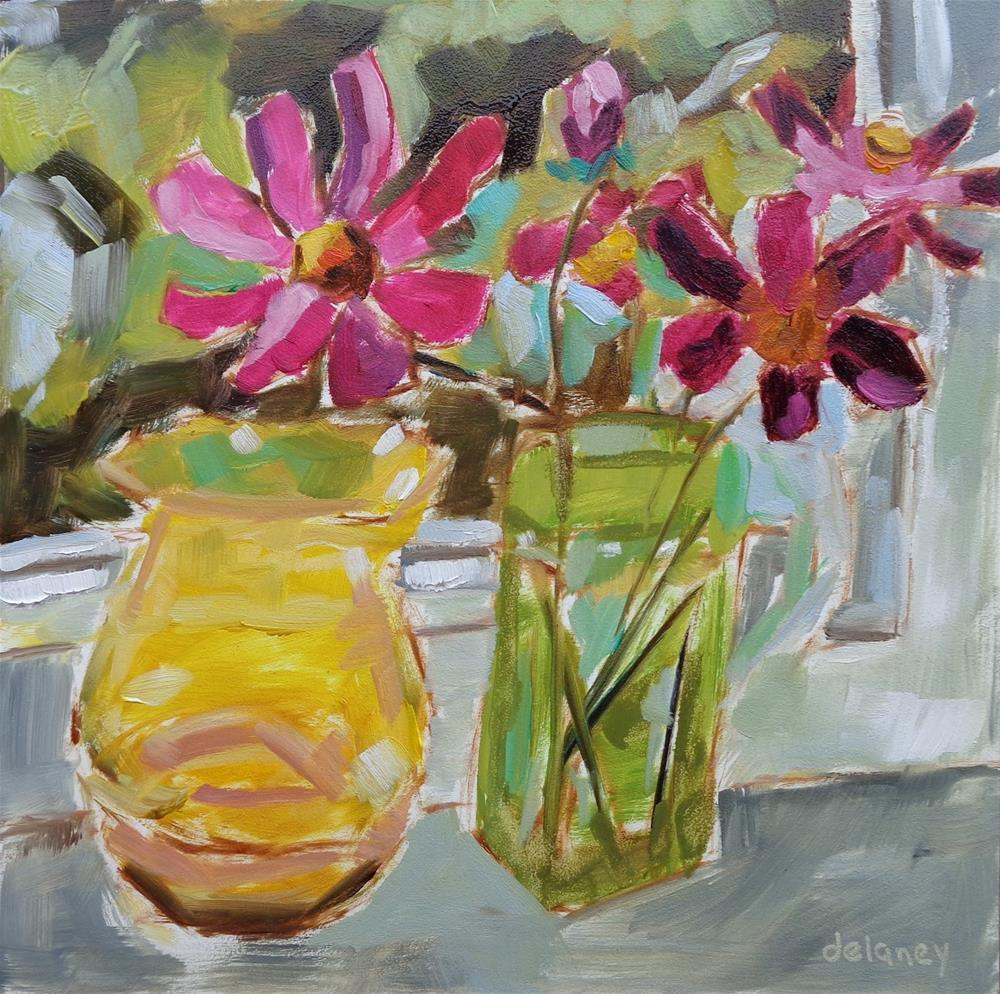 """WINDOW SILL FLOWERS"" original fine art by Jean Delaney"