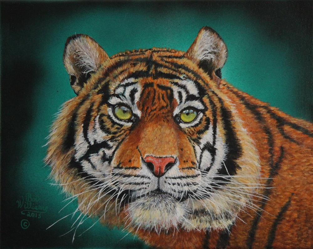"""Tiger Portrait.........Amur-Tiger"" original fine art by Bob Williams"