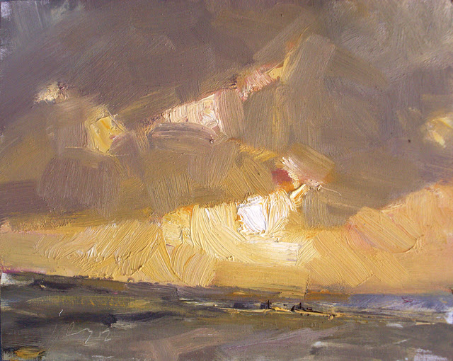 """Seascape winter #5 Orange Light - zeegezicht"" original fine art by Roos Schuring"