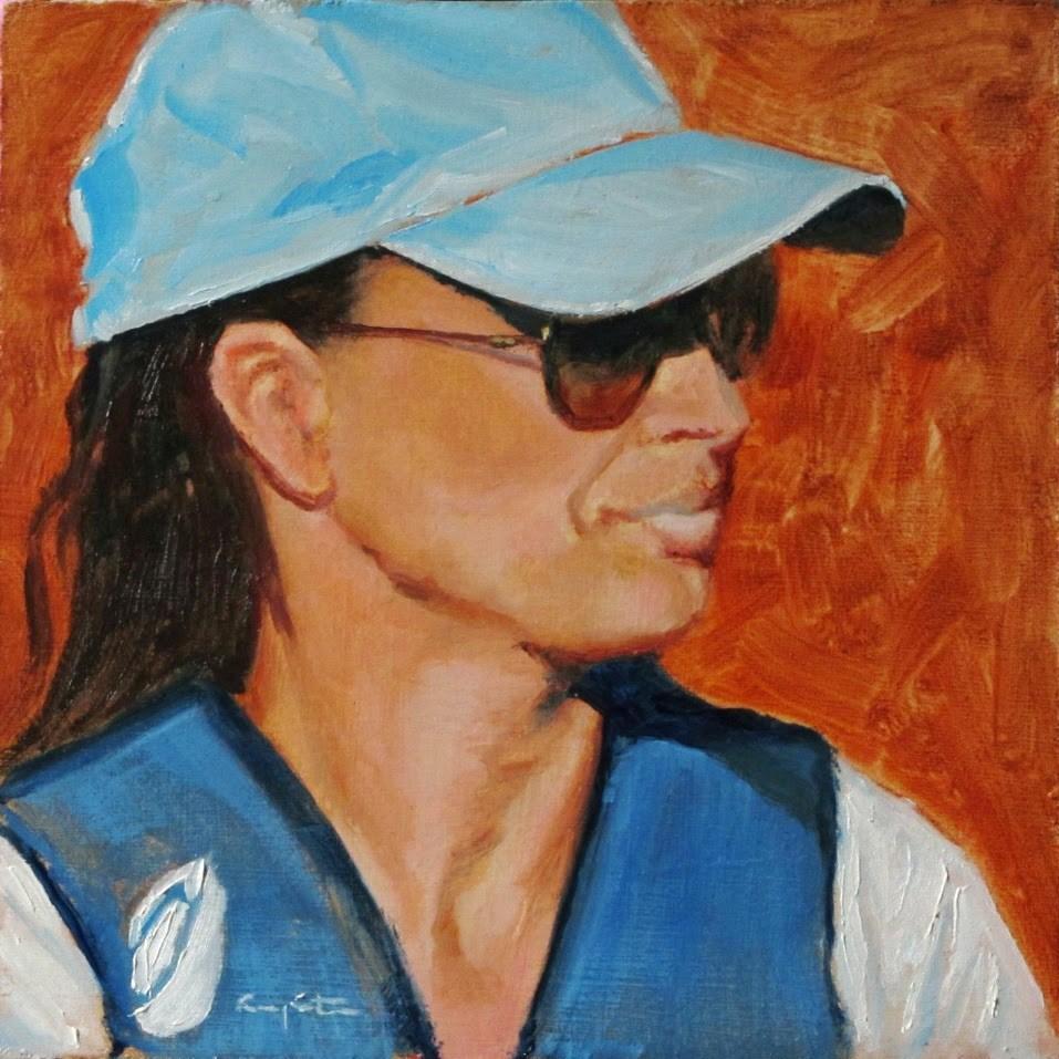 """""""La gorra azul"""" original fine art by Eduardo Carpintero"""