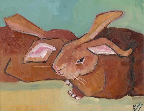 """Rabbit Huddle"" original fine art by Elizabeth See"