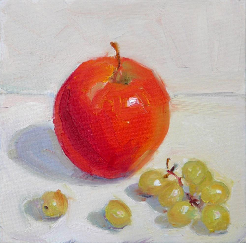 """Snack,still life,oil on canvas,6x6,price$200"" original fine art by Joy Olney"