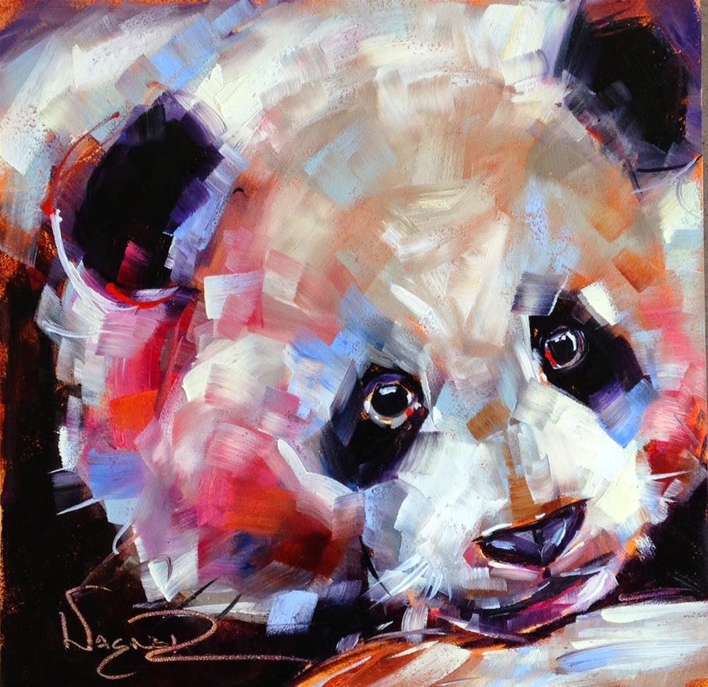 """ORIGINAL CONTEMPORARY PANDA BEAR PAINTING in OILS by OLGA WAGNER"" original fine art by Olga Wagner"