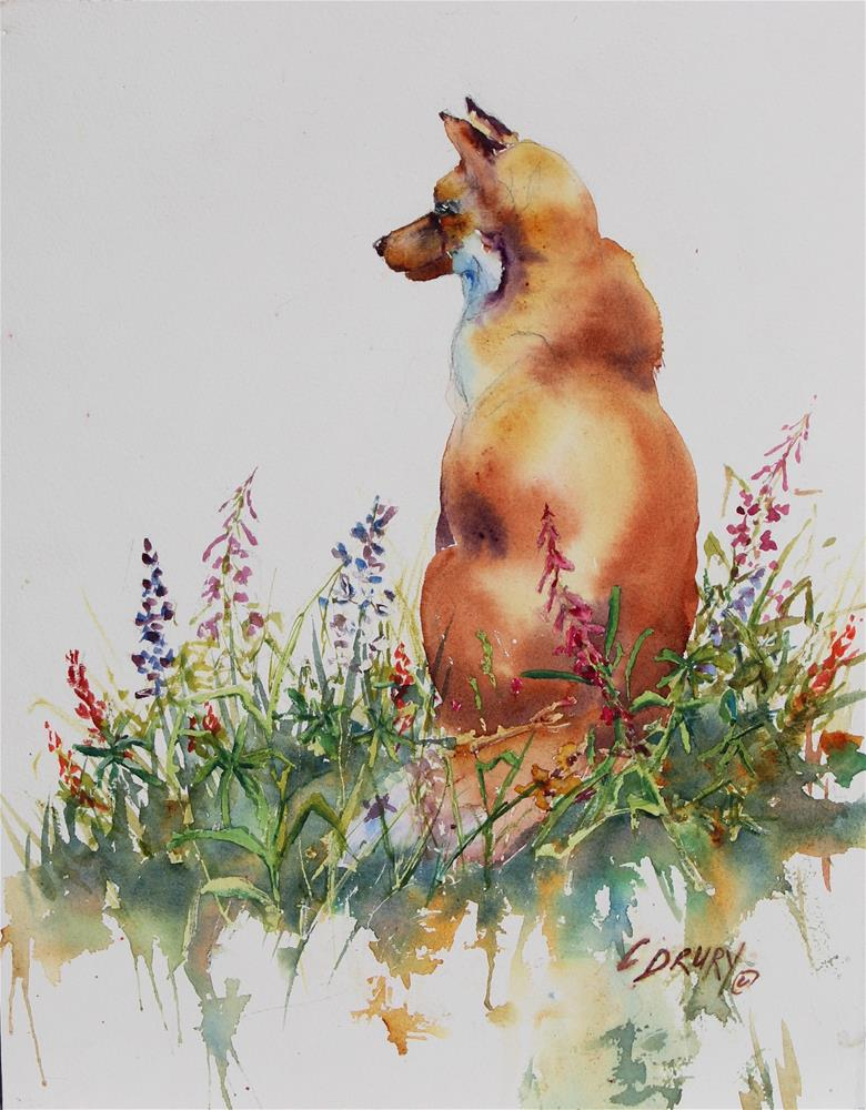 """Fox and Flowers"" original fine art by Colleen Drury"
