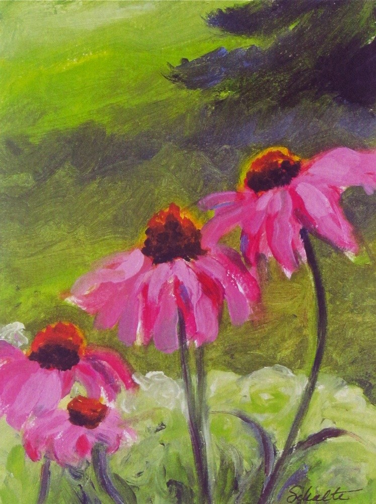 "Matted ""Echinacea"" original fine art by Lynne Schulte"