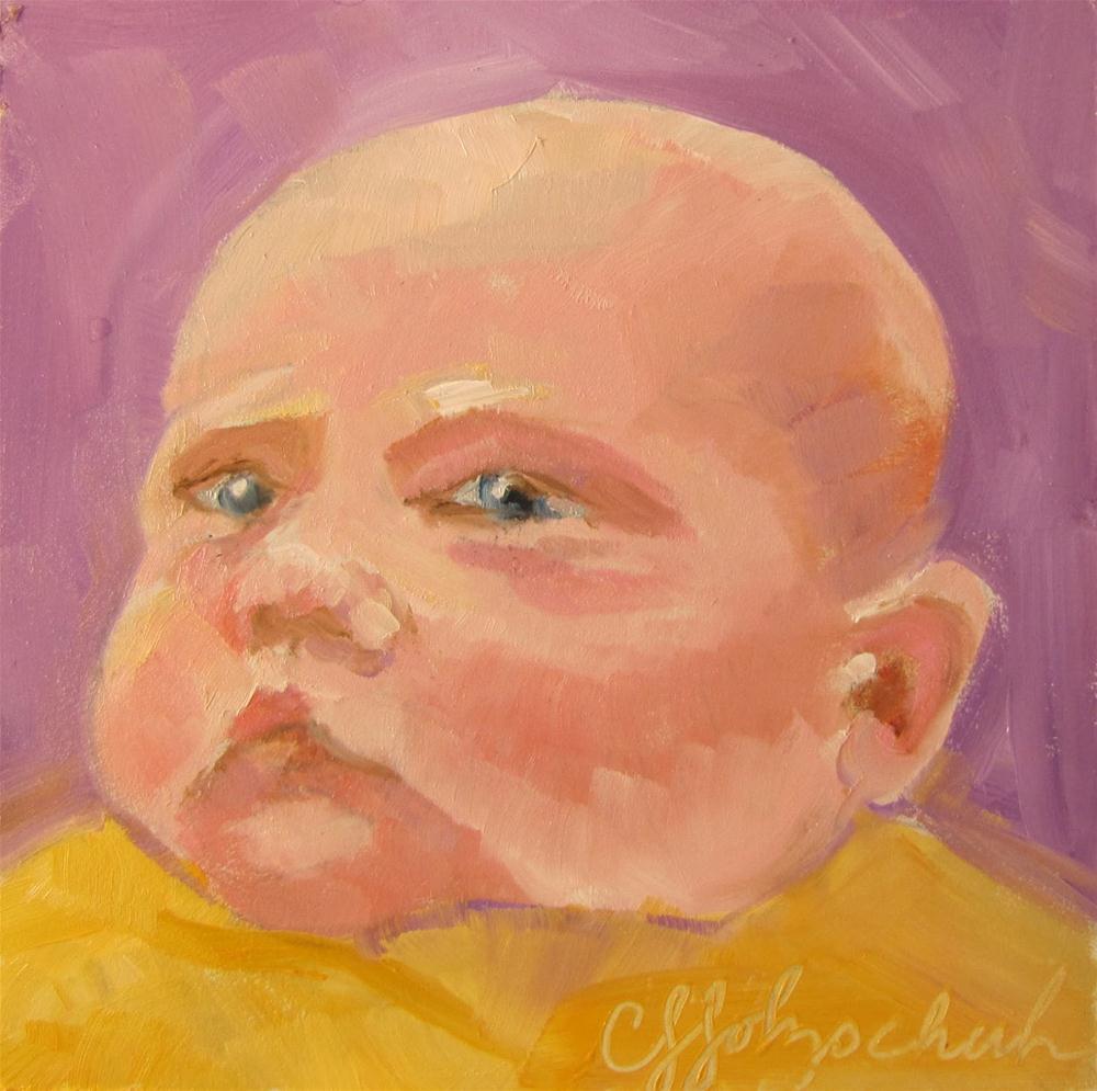 "Julia 4""x4""  oil sold original fine art by Christine Holzschuh"