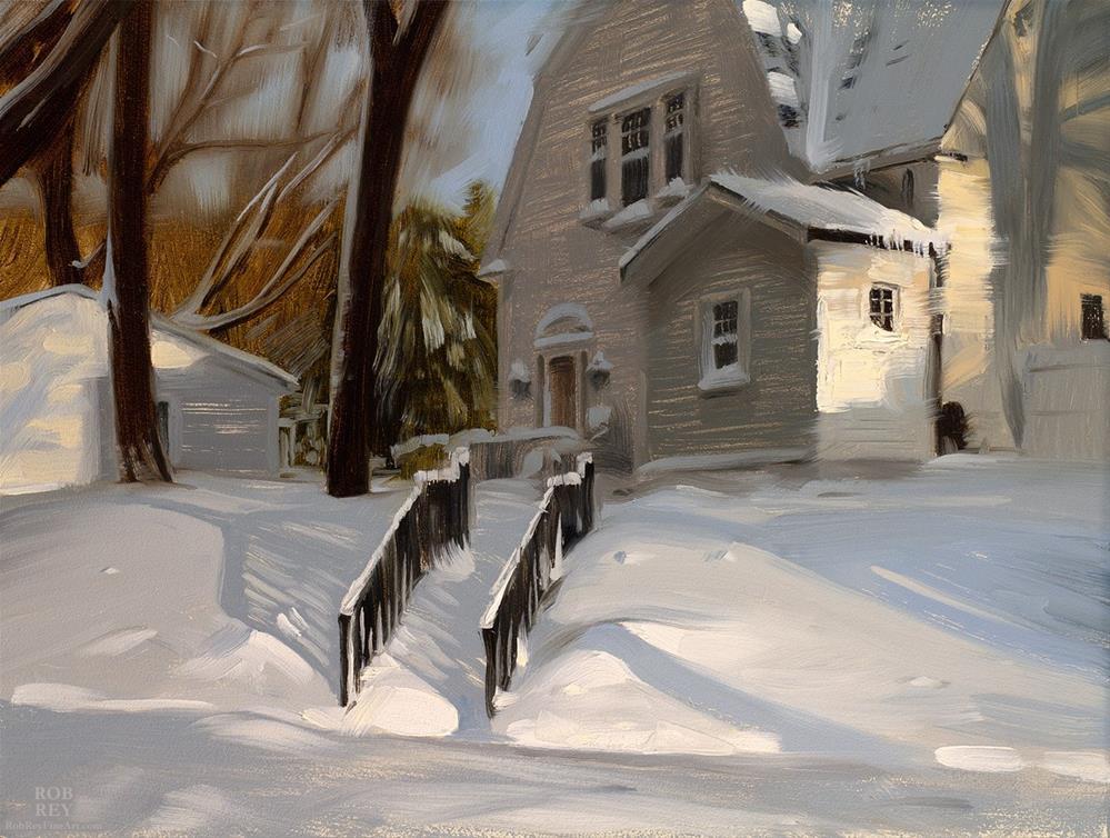 """Snowy Steps"" original fine art by Rob  Rey"