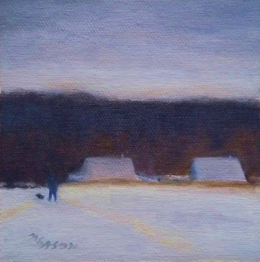 """Going out with the dog - grey day"" original fine art by Michael Sason"