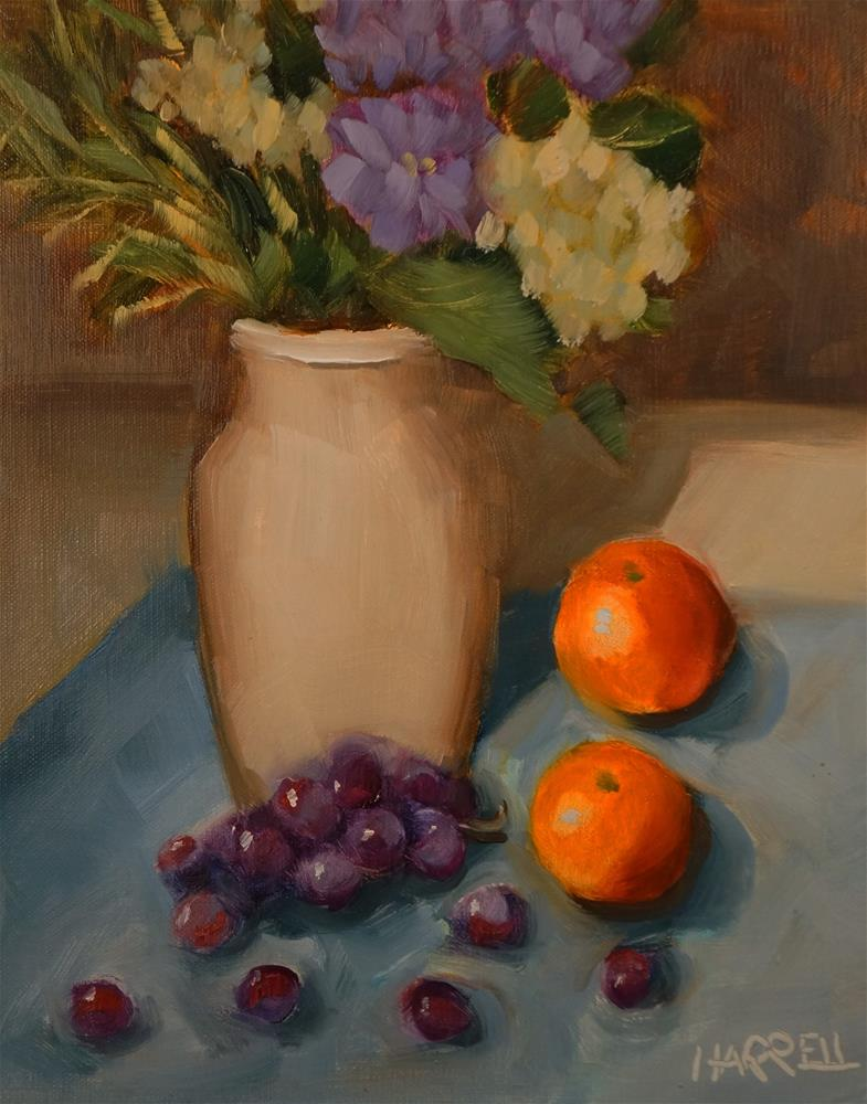"""Grapes and Mandarins"" original fine art by Sue Harrell"