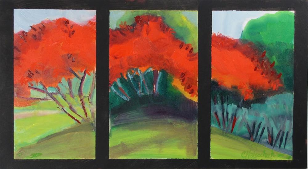 """Sumac Tryptic"" original fine art by Christine Holzschuh"