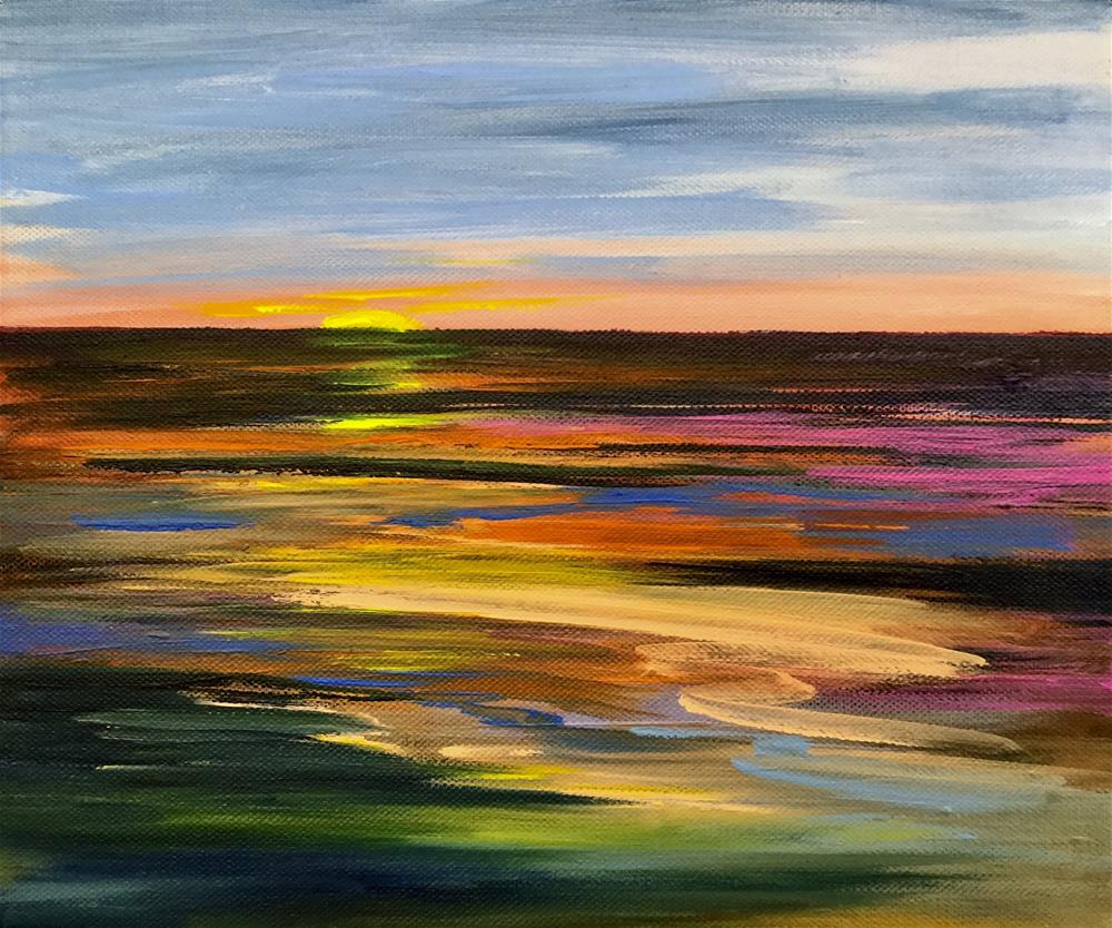 """1011 - Sundown over Georgia Strait"" original fine art by Sea Dean"