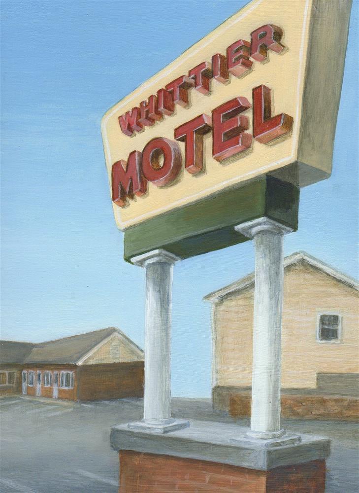 """Whittier Motel (New Sign)"" original fine art by Debbie Shirley"