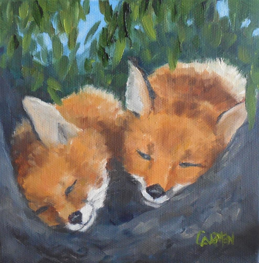 """Little Foxes, 6x6 Original Oil Painting on Stretched Canvas, Wildlife Painting"" original fine art by Carmen Beecher"
