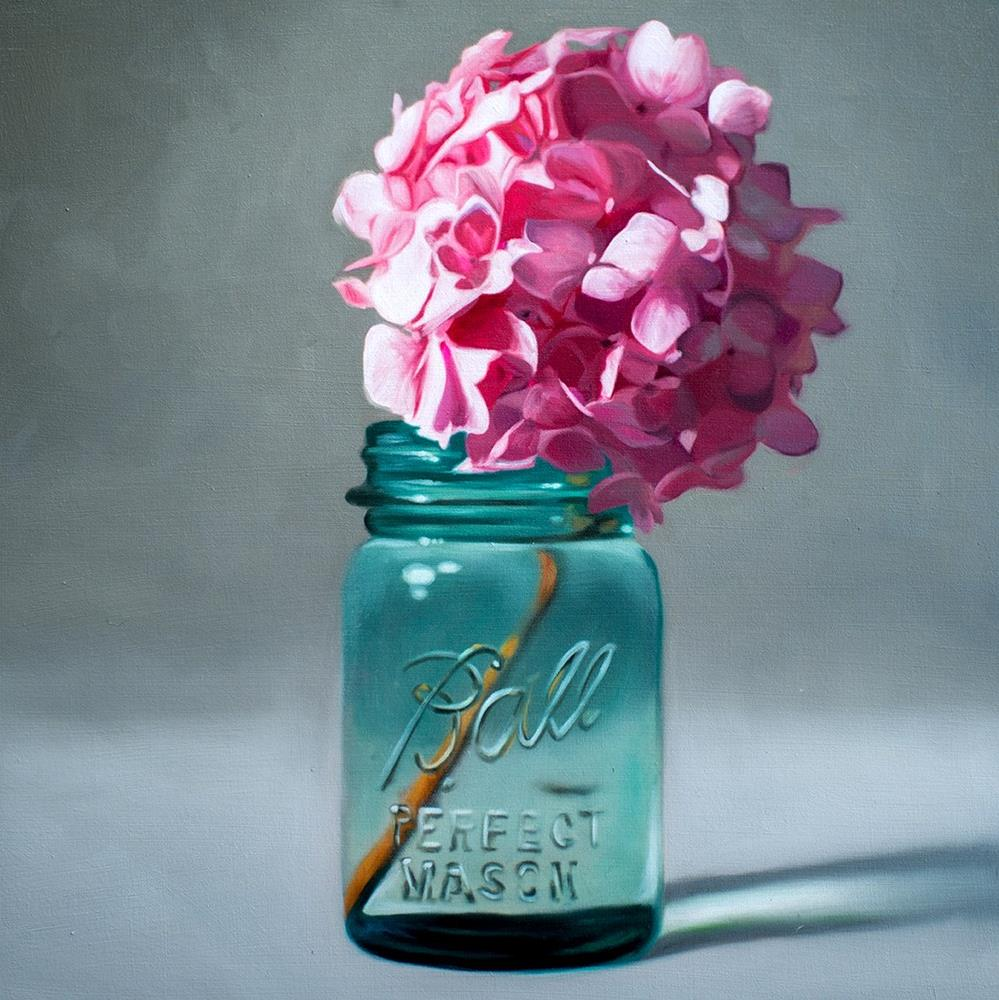 """Jar of Pink Hydrangeas"" original fine art by Lauren Pretorius"