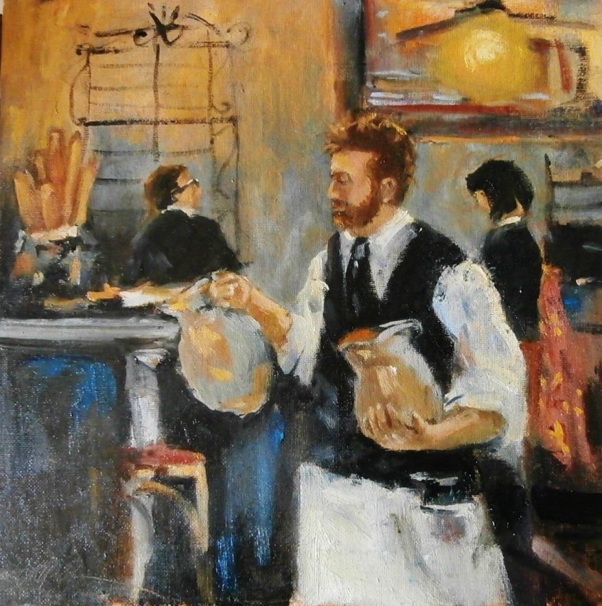 """Pouring Water, CanCan Restaurant, Richmond, VA"" original fine art by Connie Snipes"