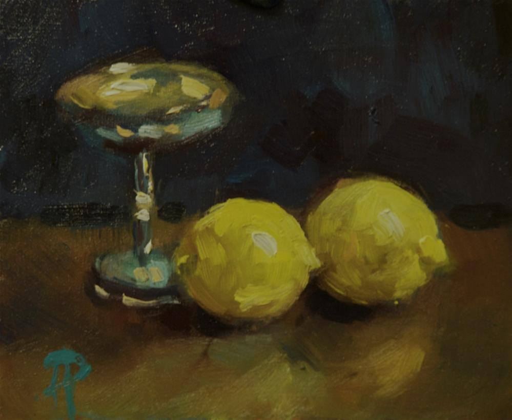 """Two Lemons and Silver Chalice"" original fine art by Andre Pallat"