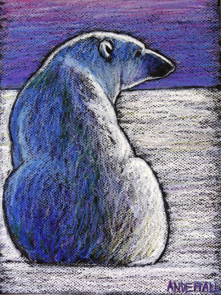 """Polar Bear Backside"" original fine art by Ande Hall"