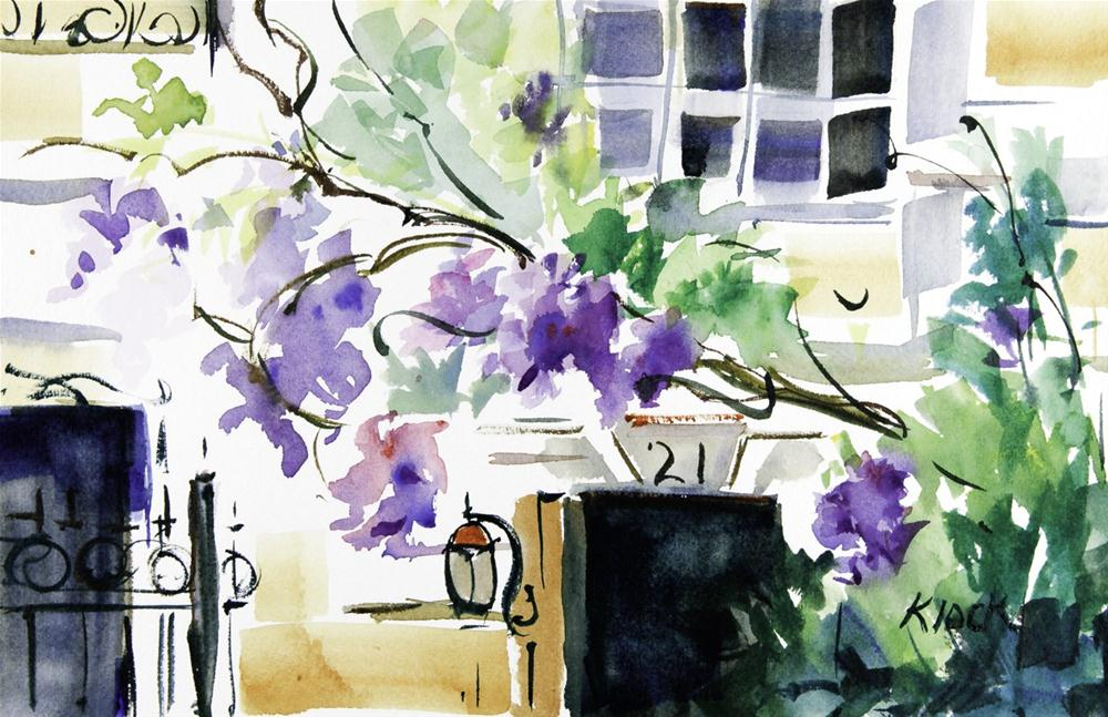 """Brownstone Wisteria"" original fine art by Diane Klock"