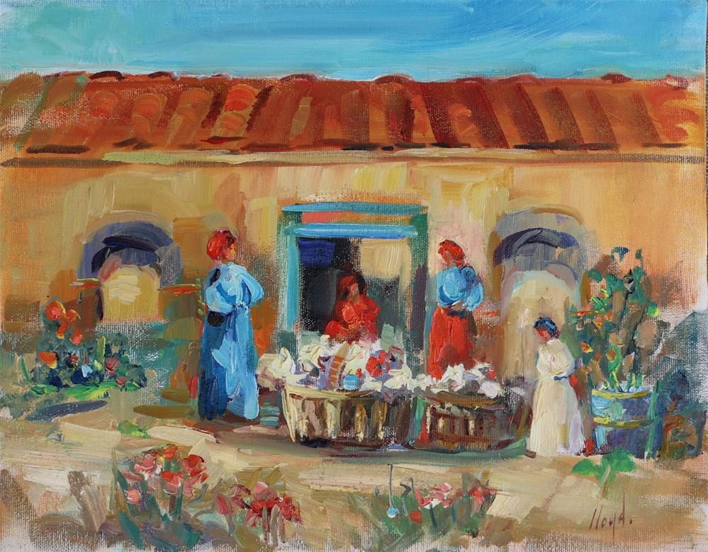 """Flower Sellers"" original fine art by Diane Lloyd"