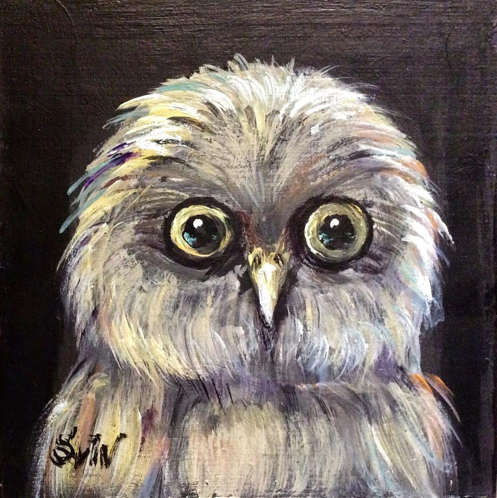 """""""Baby Owl painting"""" original fine art by Sonia von Walter"""