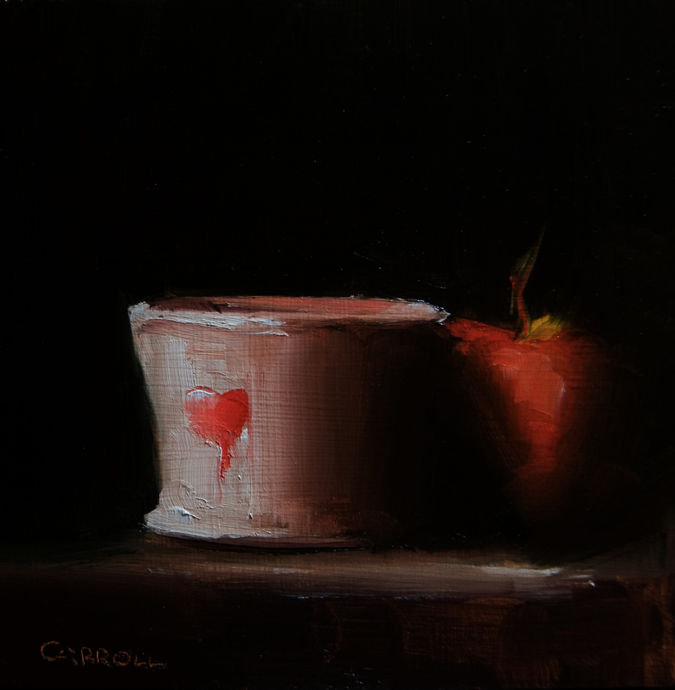 """Finger Bowl with Apple"" original fine art by Neil Carroll"